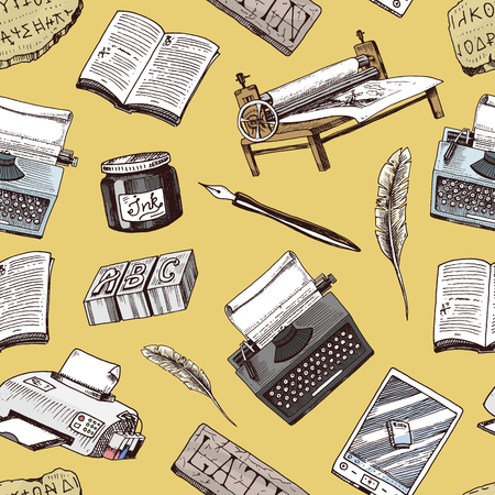 Book-printing typography writer author vector publishing house history hand drawn typewriter work books industry tools pen, print machine, feather, letters equipment seamless pattern background.