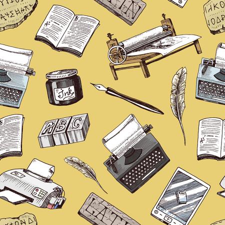 Livro-impressão tipografia escritor autor vector publicação casa história mão desenhada máquina de escrever trabalho livros indústria ferramentas caneta, máquina de impressão, pena, letras equipamento sem costura de fundo.