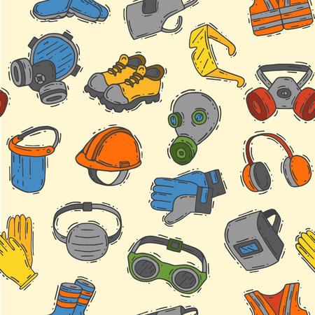 ベクトル保護衣類安全業界のアイコン保護顔とボディ機器の建設ヘルメット、グーグル、マスクやブーツ作業シームレスなパターンの背景を保護す
