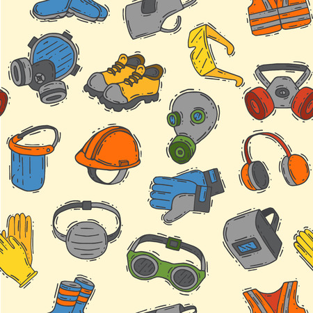 Vector protection clothing safety industry icons protective face and body equipment construction helmet, googles, mask and boots industrial mask for protect work seamless pattern background. Иллюстрация