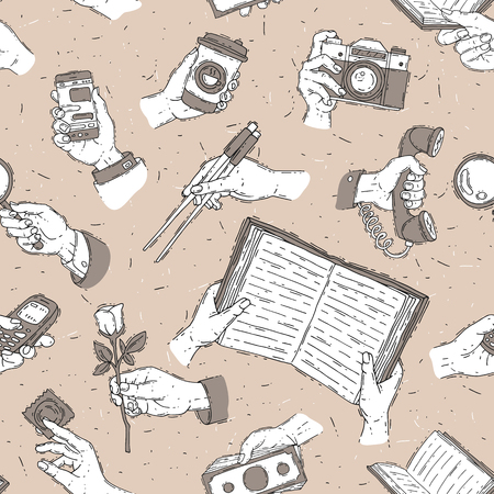 Sketch vector hands fingers holdings objects and showing items people body handy part gesture presentation concept illustration seamless pattern background