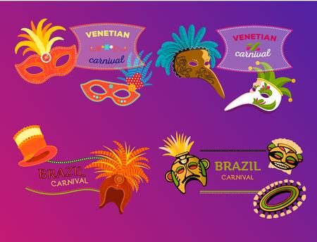 Carnaval Italia y Brasil banner web máscaras celebración festiva diseño de carnaval. Foto de archivo - 91695350