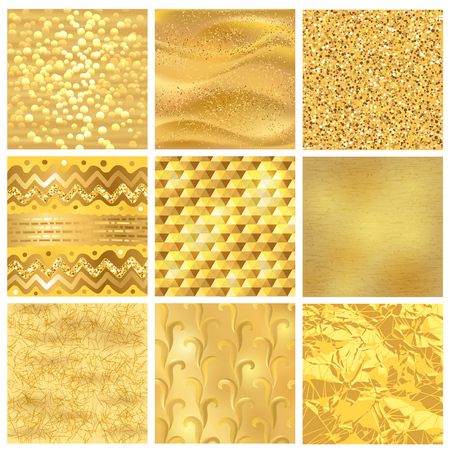 Golden background or gold texture vector pattern for luxury textured wallpaper with textural goldleaf backdrop yellow set