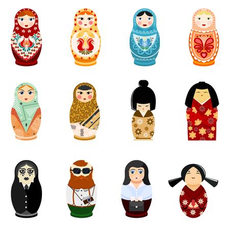 Puppe Matryoshka-Vektor matrioshka russisches Spielzeugtraditionelles Symbol von Russland Staatsangehörigem matreshka der touristischen japanischen arabischen Illustration der verschiedenen Nationalitäten lokalisiert auf weißem Hintergrund. Standard-Bild - 91879840