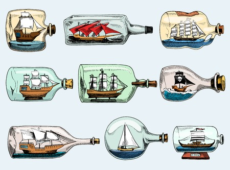 白い背景に隔離されたフラスコでコルクまたは出荷とガラスヨットでミニチュアギフト帆のお土産でボトルベクターボートで船