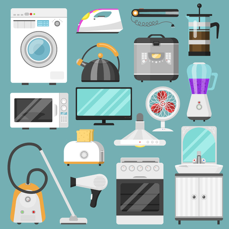 Electronic household appliances vector kitchen homeappliance for house set refrigerator or washing machine in electric shop and vacuum cleaner in appliancestore illustration isolated on background