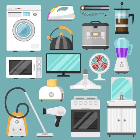 Elektronische huishoudelijke apparaten vector keuken homeappliance voor huis set koelkast of wasmachine in elektrische winkel en stofzuiger in appliancestore illustratie geïsoleerd op achtergrond