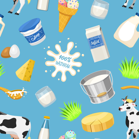 Dairy milk products vector natural food calcium milky dairying production cheese yogurt cottage and sour cream or icecream cow on milky farm illustration seamless pattern background Иллюстрация