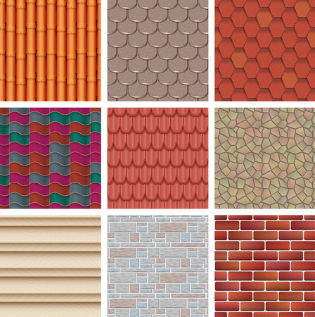 Vector building background wall texture architecture brickwall or stonewall with textured roofing tile and brickwork to build bricklaying and tiling roof backdrop or abstract pattern illustration set.
