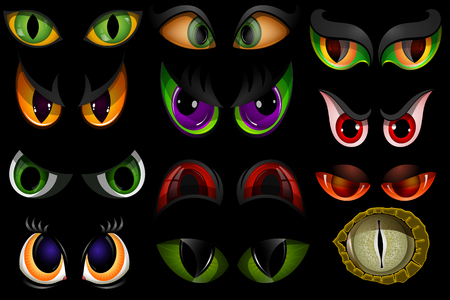 Cartoon vector eyes beast devil monster animals eyeballs of angry or scary expressions evil eyebrow and eyelashes on face scared snake or dracula vampire animal eyesight illustration isolated black Vectores