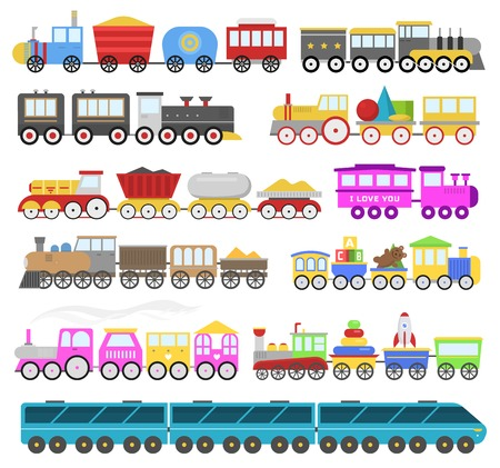 Kids train vector cartoon baby railroad toy or railway game with locomotive gifted on happy birthday to child in childhood kids toys isolated on white background illustration. Çizim
