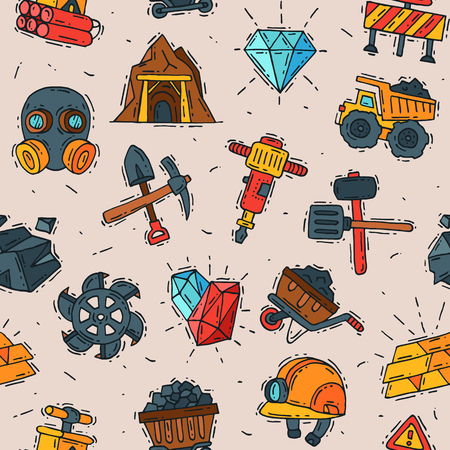 Coal vector mining engineering industry work business construction factory line mine icons illustration with moning icons like truck, coal, miner tools seamless pattern background
