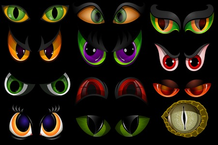 Cartoon eyes beast devil monster animals eyeballs of angry or scary expressions evil eyebrow and eyelashes on face scared snake or dracula vampire animal eyesight illustration isolated on black