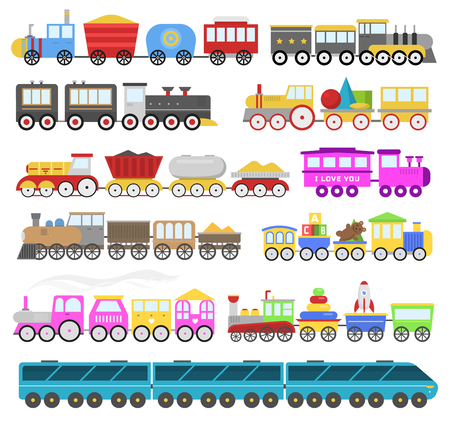 Kids train cartoon baby railroad toy or railway game with locomotive gifted on happy birthday to child in childhood kids toys isolated on white background illustration