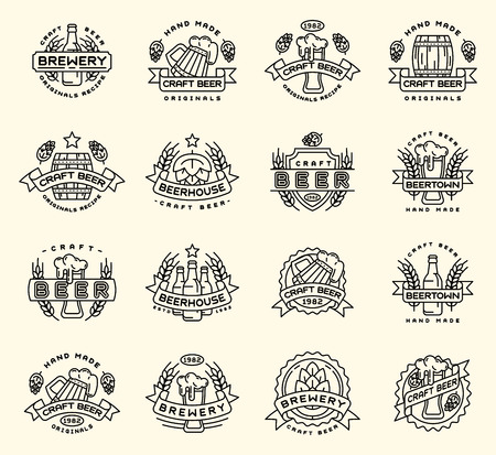 Beer vector logo badges vintage craft old fashion drink beer bottles company logotype icons illustration isolated