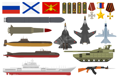 Russian army military vector armored aviation airplanes with weapon armed submarine ship and set of shoulder straps or decoration awards flags illustration isolated on white background Illustration