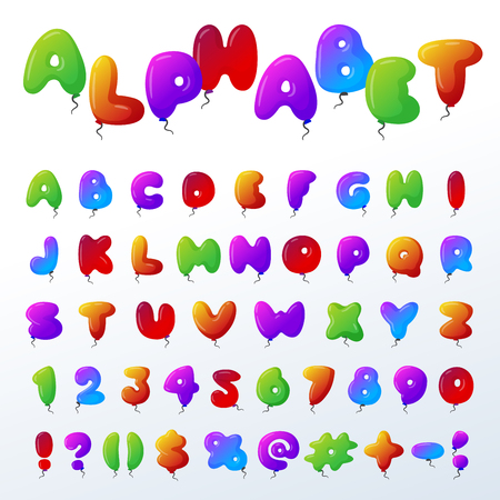 Balloon alphabet vector character set illustration with kids style toys colorful air balls isolated Birthday celebration event ABC baby design Illustration