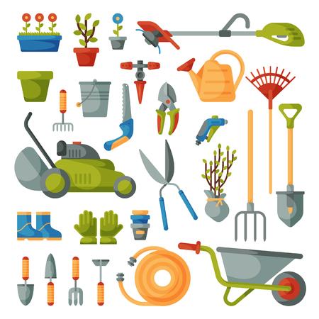 Rastrello o pala dell'attrezzatura di giardinaggio di vettore dello strumento di giardino e falciatrice dell'illustrazione stabilita della raccolta o di agricoltura dell'azienda agricola del giardiniere isolata su fondo bianco Vettoriali