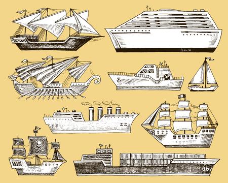 Schip vector boot schip zeilboot cruiseschip of passagier stoomschip en krachtige speedboot of motorboot onderzeeër en jacht set illustratie geïsoleerd op de achtergrond Stock Illustratie