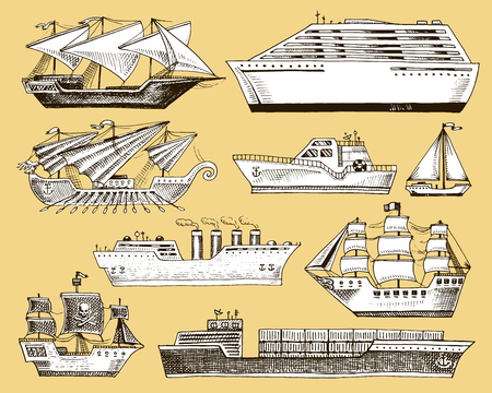 Ship vector boat vessel sailboat cruise liner or passenger steamship and powerful speedboat or motorboat submarine and yacht set illustration isolated on background