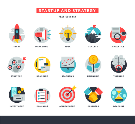 Startup business icons vector start up strategy marketing idea innovation or businessplanning illustration of rocket or light bulb isolated on white background Stock Illustratie