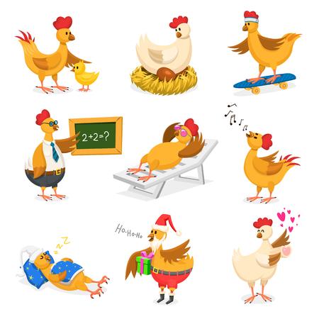 Frango vector personagem de desenho animado garota na festa de Natal ou dia dos namorados e galinha no chapéu de Papai Noel com presente de Natal para crianças e galo no amor com ilustração de corações adorável no fundo branco Ilustración de vector