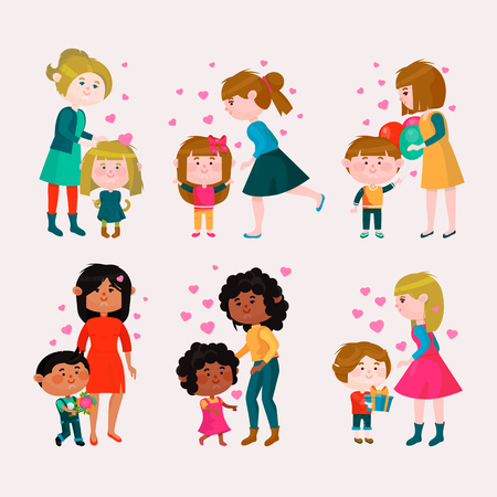 Valentines day vector loving family mothers day mom and kids valentine lovely heart girl or boy kissing and hugging child with gift flowers and balloons illustration isolated on white background Stock Illustratie