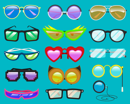 Glasses vector cartoon eyeglasses or sunglasses in heart funny shape for party and accessories for hipsters fashion optical spectacles eyesight view set illustration isolated on background
