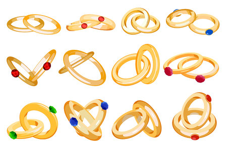 Wedding rings vector set engagement symbol gold silver jewelry for proposal marriage wed sign marry me lettering illustration isolated on white background