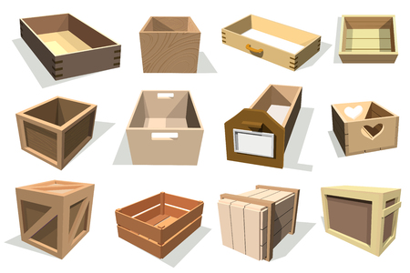 De vector houten lege laden van het doospakket en ingepakte dozen of verpakkende pakketten met houten containers voor leverings vastgestelde die illustratie op witte achtergrond wordt geïsoleerd.