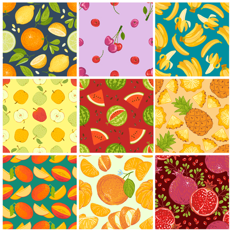 Fruit pattern seamless vector fruity background and fruitful exotic wallpaper with fresh slices of watermelon orange apples and tropical fruits illustration backdrop set Illustration