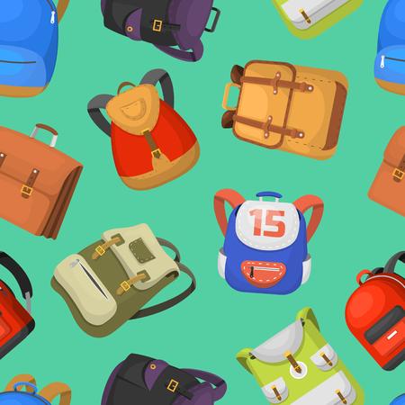 Cartoon kids school bags backpack Back to School rucksack vector set illustration. School supplies educational full schoolbag adventure seamless pattern background