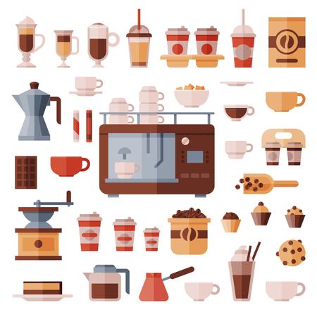 Koffiereeks vectorkoffiemachine met koffiekopjes voor hete espresso of cappuccino en dranken met cafeïne in plastic die koppen meeneem in coffeeshopillustratie op witte achtergrond wordt geïsoleerd.