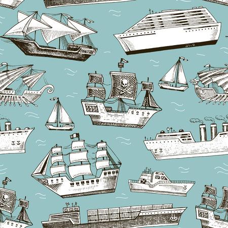 선박 벡터 보트 선박 요트 크루즈 라이너 또는 승객 증기선 및 강력한 스피드 또는 모터 보트 잠수함 및 요트 그림에서는 원활한 패턴 배경을 설정합니 일러스트