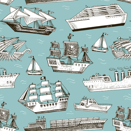 Ship vector boat vessel sailboat cruise liner or passenger steamship and powerful speedboat or motorboat submarine and yacht set illustration seamless pattern background. Illustration