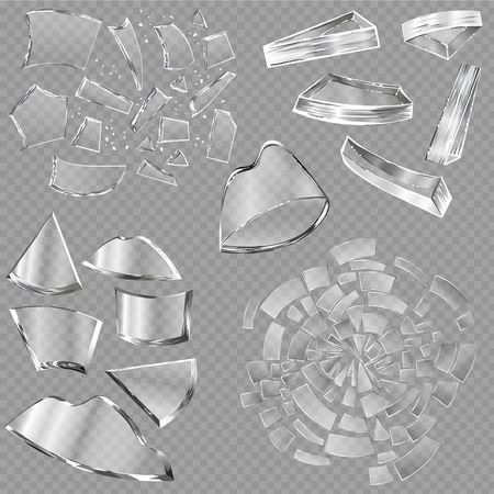 Broken glass vector sharp pieces of window and realistic shattered glassware or shattering debris of breaking mirror isolated on transparent background illustration backdrop.