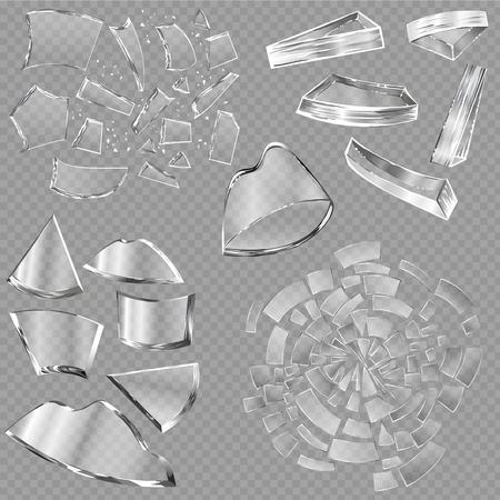 割れたガラスベクトルの窓の鋭い部分と現実的な粉々のガラス製品や透明な背景のイラストの背景に隔離された壊れたミラーの破片。  イラスト・ベクター素材
