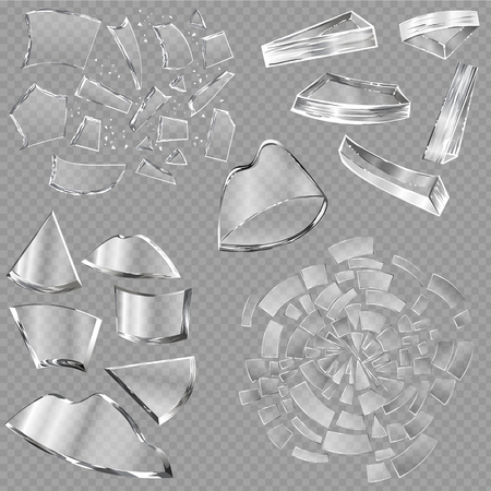 Broken glass vector sharp pieces of window and realistic shattered glassware or shattering debris of breaking mirror isolated on transparent background illustration backdrop. Reklamní fotografie - 93882504