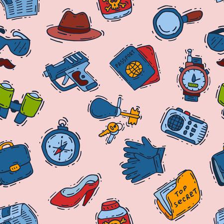 Spy icons vector cartoon detective set mafia agent binoculars or spyglass for spying or secret investigation illustration seamless pattern background