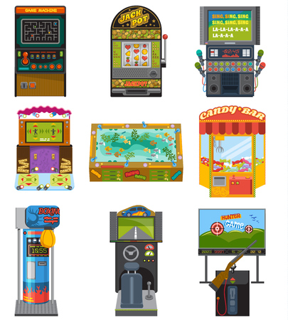 Game machine vector arcade gambling games hunting fishing boxing and dancing where game some gambler or gamer play in gaming computer machinery illustration isolated on white background Stock fotó - 93969113