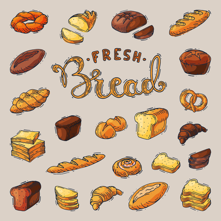 Bakery and bread vector baking breadstuff meal loaf or baguette baked by baker in bakehouse set illustration isolated on background.