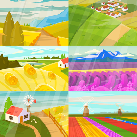 Landscape vector landscaping countryside of meadows fields and lands with natural landscaped sunny view of country set illustration isolated on white background.