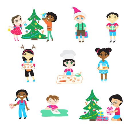 Kids on Christmas vector cartoon characters boys and girls in Santa hat play with children decorate xmas tree and gifts in babyroom for celebrating Winter holiday cook cookies illustration isolated. Stock Illustratie