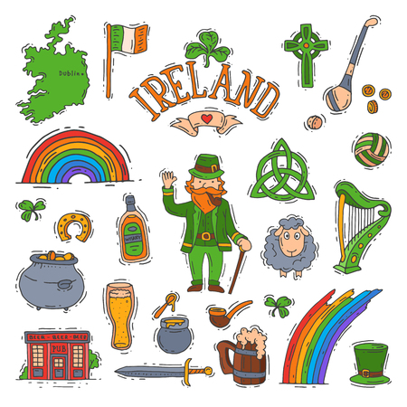 Ireland vector irish saint patrick holiday with leprechaun in patrics green hat and clover leaf symbol of saintpatrick celebration with beer illustration set isolated on white background