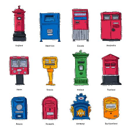 Postbus vector postbus of brievenbus van Engeland Amerika Europa of Azië mailer en postbussen voor levering gemailde brieven naar verschillende landen instellen illustratie geïsoleerd op witte achtergrond