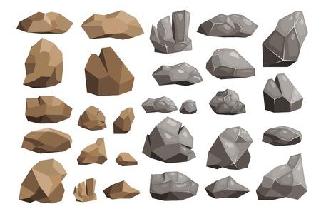 異なる岩のイラストセット。