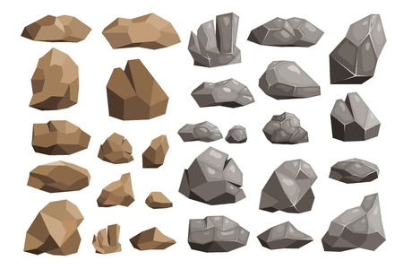 Different rocks illustration set.