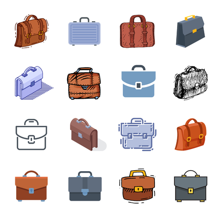 Briefcase vector business suitcase bag and baggage accessory for work or office illustration set bagged case isolated on white background.