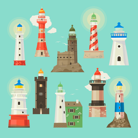 Lighthouse vector beacon lighter beaming path of lighting to ses from seaside coast illustration set of lighthouses isolated on white background Vectores