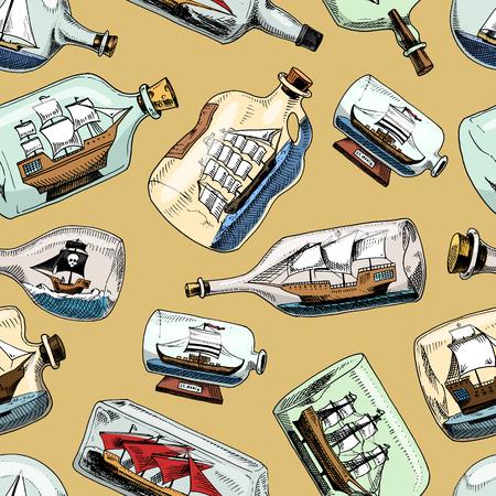 Versenden Sie im Flaschenvektorboot in der begabten Segelminiaturandenken im Glassegelboot mit Korken oder im Versand in der Flasche, die auf dem nahtlosen Musterhintergrund des Hintergrundes lokalisiert wird Standard-Bild - 94308832